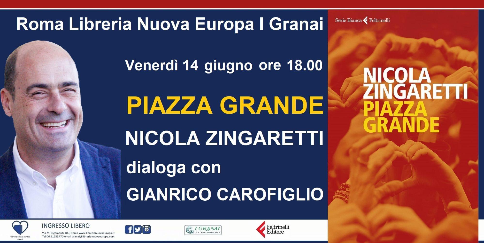 Piazza grande. Nicola Zingaretti dialoga con Gianrico Carofiglio